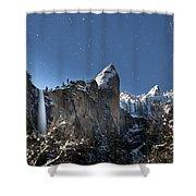 Moonlit Bridalveil  Falls-yosemite Valley Shower Curtain