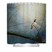 Moonlit Chickadee Shower Curtain