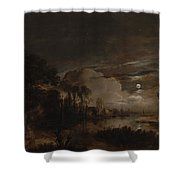 Moonlit Landscape With A View Shower Curtain