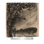 Moonlit Landscape With Tree At The Left Shower Curtain