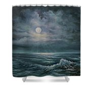 Moonlit Seascape Shower Curtain by Katalin Luczay