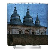 Moonlit Monastery Shower Curtain