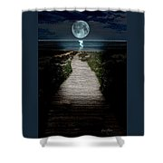 Moonlit Night At The Beach Shower Curtain