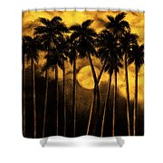 Moonlit Palm Trees In Yellow Shower Curtain
