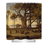 Moonlit Scene Of Indian Figures And Elephants Among Banyan Trees Shower Curtain