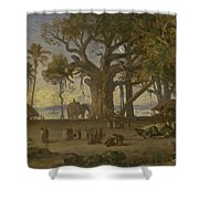 Moonlit Scene Of Indian Figures And Elephants Among Banyan Trees. Upper India Shower Curtain