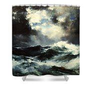 Moonlit Shipwreck At Sea Shower Curtain