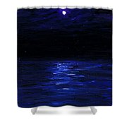 Moonlit Water Mini Oil Painting On Masonite Shower Curtain