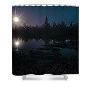 Moonlit Wetland Shower Curtain