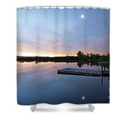 Moonrise At The Fishing Pond Shower Curtain