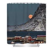 Moonrise In Reine Shower Curtain