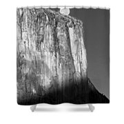 M-m6506-e-bw-moonrise Over El Capitan At Sunset  Shower Curtain