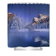 Moonrise Over Gates Of The Valley Yosemite National Park Shower Curtain