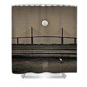 Moonrise Over Skyway Bridge Shower Curtain by Steven Sparks