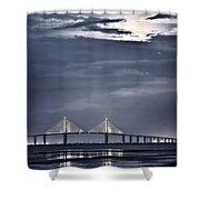 Moonrise Over Sunshine Skyway Bridge Shower Curtain by Steven Sparks