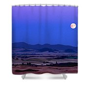 Moonrise Over The Palouse By Jean Noren Shower Curtain