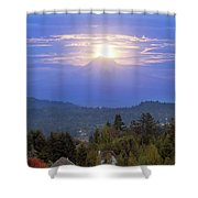 Moonrise Over The Top Of Mount Hood Shower Curtain