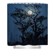 Moonrise Over Wetlands Shower Curtain