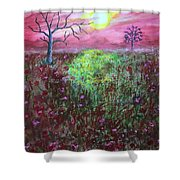 Moonrise Poppies Shower Curtain