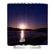 Moonset Over Abiquiu Lake Shower Curtain