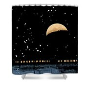 Moonset Over Depot Shower Curtain
