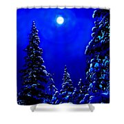 Moonshine On Snowy Pine Shower Curtain