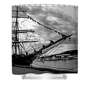 Moored At Hobart Bw Shower Curtain
