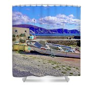 Moored Boat On Purteen Harbour Shower Curtain