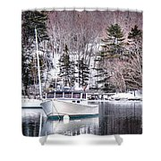 Moored Boats In Maine Winter  Shower Curtain