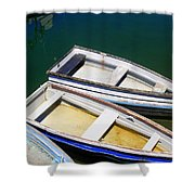 Moored Row Boats Shower Curtain