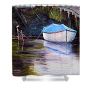Moored Rowing Boat Shower Curtain