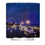 Moored Sailboats Shower Curtain