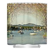 Moored Yachts In A Sheltered Bay Shower Curtain