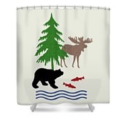 Moose And Bear Pattern Art Shower Curtain