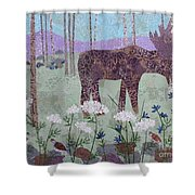 Moose And Three Sparrows Shower Curtain