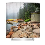 Moraine Lake And Boathouse Shower Curtain
