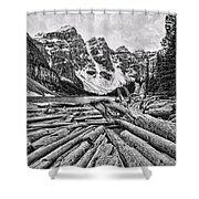 Moraine Lake Driftwood No 1 Shower Curtain
