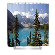 Moraine Lake In Banff National Park Shower Curtain by Bryan Mullennix
