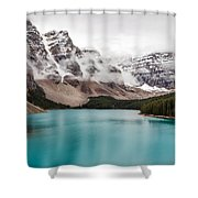 Moraine Lake In The Clouds Shower Curtain