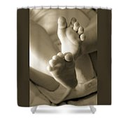More Little Feet Shower Curtain by Mamie Thornbrue