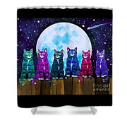 More Moonlight Meowing Shower Curtain