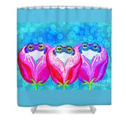 More Rose City Rain Frogs Shower Curtain
