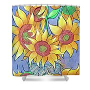 More Sunflowers Shower Curtain by Loretta Nash