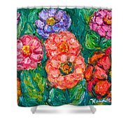 More Zinnias Shower Curtain