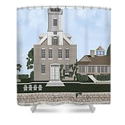 Morgan Point Mystic Harbor Conn Shower Curtain