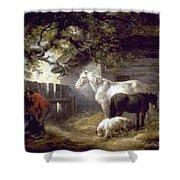 Morland: Farmyard, 1792 Shower Curtain