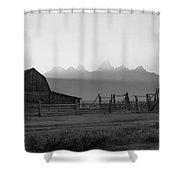 Mormon Row Sunset Panorama Bw Shower Curtain