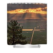 Morning Angel Lights Over The Valley Shower Curtain