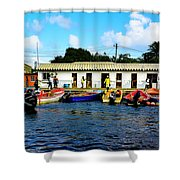 Morning At The Docks Shower Curtain