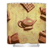 Morning Breakfast Chocolate Tea Set  Shower Curtain